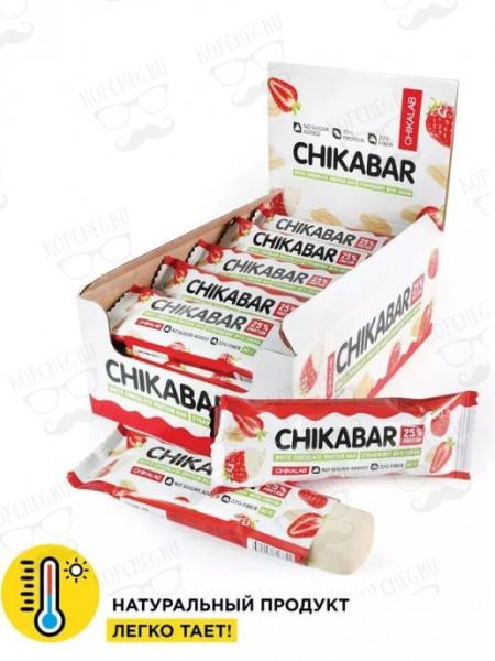 Батончик глазированный CHIKABAR с начинкой Клубника со сливками (60г)