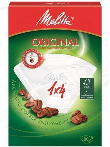 Фильтры бумажные для кофе Melitta 1х4 100 шт., белые